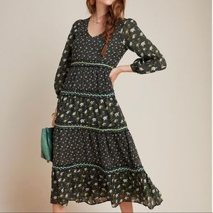 ANTHROPOLOGIE Green Floral Print Tiered Maxi Dress